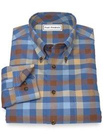 Non-Iron 100% Cotton Check Button Down Sport Shirt