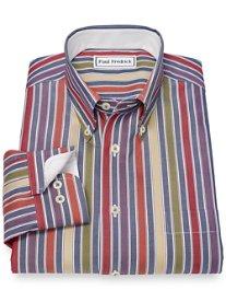 Slim Fit Non-Iron 100% Cotton Stripe Button Down Collar Sport Shirt