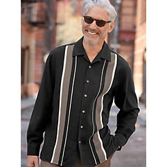 1950s Style Mens Shirts 100 Silk Panel Camp Shirt $70.00 AT vintagedancer.com