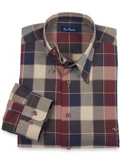 Hidden Buttondown Collar Plaid Trim Fit Sport Shirt