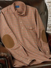 Hidden Buttondown Collar Flannel Check Pullover Trim Fit Sport Shirt