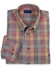 Buttondown Collar Gingham Plaid Trim Fit Sport Shirt