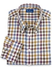 Buttondown Collar Check Trim Fit Sport Shirt