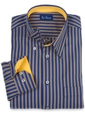 Hidden Buttondown Collar Herringbone Stripe Sport Shirt