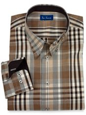 Hidden Buttondown Collar Gingham Plaid Sport Shirt