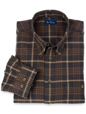 Cotton & Wool Flannel Buttondown Collar Plaid Trim Fit Sport Shirt