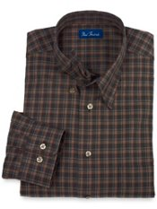 Hidden Buttondown Collar Check Trim Fit Sport Shirt