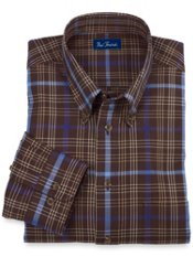 100% Cotton Plaid Buttondown Collar Sport Shirt