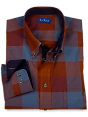 Cotton & Wool Flannel Buttondown Collar Buffalo Plaid Sport Shirt