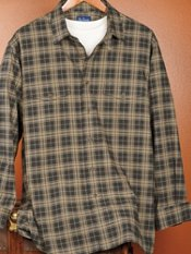 Cotton & Wool Flannel Soft Straight Collar Plaid Trim Fit Overshirt