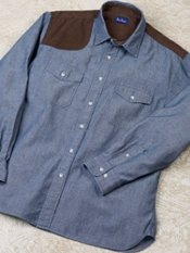Chambray Straight Collar Corduroy Gun Patch Trim Fit Sport Shirt