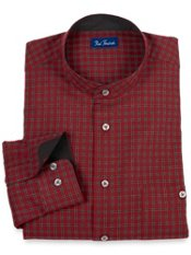 100% Cotton Check Band Collar Trim Fit Sport Shirt
