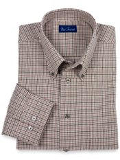 100% Cotton Houndstooth Buttondown Collar Trim Fit Sport Shirt