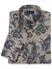 Hidden Buttondown Collar Paisley Stripe Sport Shirt