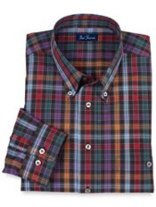 Wrinkle & Stain Resistant Buttondown Collar Plaid Trim Fit Sport Shirt