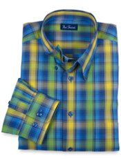 Wrinkle & Stain Resistant Hidden Buttondown Collar Plaid Trim Fit Sport Shirt