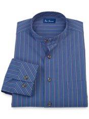 100% Cotton Stripe Band Collar Sport Shirt