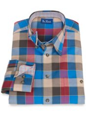 100% Cotton Plaid Hidden Button Down Collar Sport Shirt