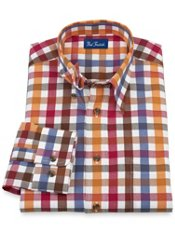 100% Cotton Check Hidden Button Down Collar Sport Shirt