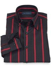 100% Cotton Stripe Hidden Button Down Collar Trim Fit Sport Shirt