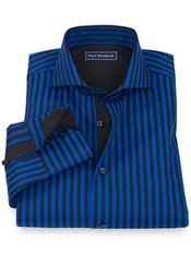 100% Cotton Stripe Cutaway Collar Sport Shirt