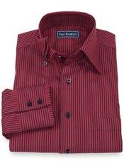 100% Cotton Stripe Hidden Button Down Collar Sport Shirt
