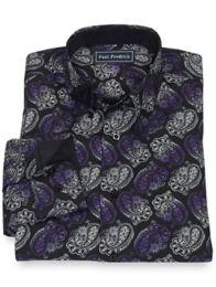 Paul Fredrick - 100% Cotton Paisley Hidden Button Down Collar Sport Shirt