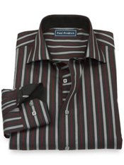 100% Cotton Stripe Cutaway Collar Trim Fit Sport Shirt
