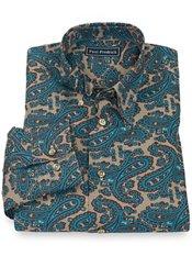 100% Cotton Paisley Hidden Button Down Collar Sport Shirt