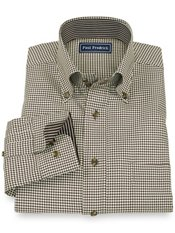 100% Cotton Houndstooth Button Down Collar Sport Shirt