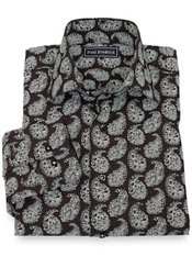 100% Cotton Paisley Spread Collar Sport Shirt