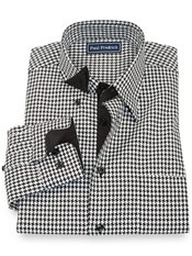 100% Cotton Houndstooth Hidden Button Down Collar Sport Shirt