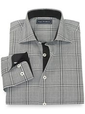 100% Cotton Glen Plaid Cutaway Collar Sport Shirt