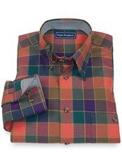 100% Cotton Buffalo Plaid Hidden Button Down Collar Sport Shirt
