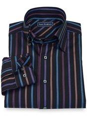 100% Cotton Stripe Hidden Button Collar Sport Shirt