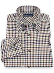 100% Cotton Check Button Down Collar Sport Shirt