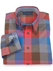 100% Cotton Buffalo Plaid Hidden Button Collar Down Sport Shirt