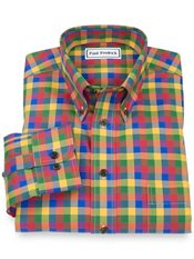 Non-Iron 100% Cotton Check Button Down Collar Sport Shirt