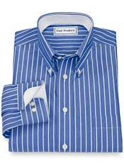 Non-Iron 100% Cotton Stripe Button Down Collar Sport Shirt