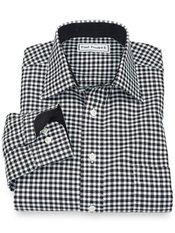 Non-Iron 100% Cotton Check Spread Collar Sport Shirt