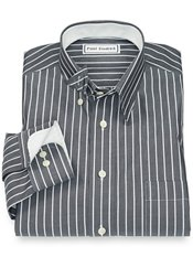 Non-Iron 100% Cotton Stripe Hidden Button Down Collar Sport Shirt