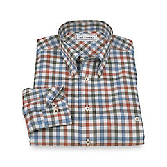 Non-Iron 100 Cotton Check Button Down Collar Sport Shirt $60.00 AT vintagedancer.com