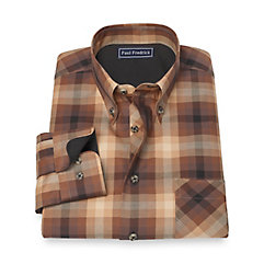 1950s Style Mens Shirts 100 Cotton Check Button Down Collar Sport Shirt $55.00 AT vintagedancer.com