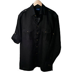 Linen Epaulet Style Shoulder Long Sleeve Sport Shirt