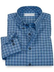 Non-Iron 100% Cotton Check Hidden Button Down Collar Sport Shirt