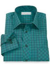Non-Iron 100% Cotton Check Spread Collar Trim Fit Sport Shirt