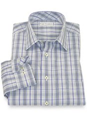 Non-Iron 100% Cotton Plaid Spread Collar Sport Shirt