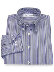 Non-Iron 100% Cotton Stripe Hidden Button Down Collar Trim Fit Sport Shirt