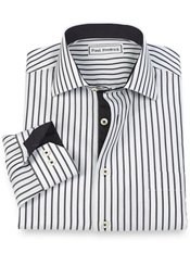 Non-Iron 100% Cotton Stripe Cutaway Collar Sport Shirt