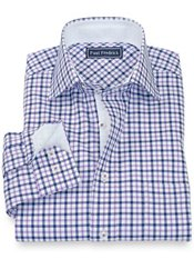 100% Cotton Check Spread Collar Sport Shirt